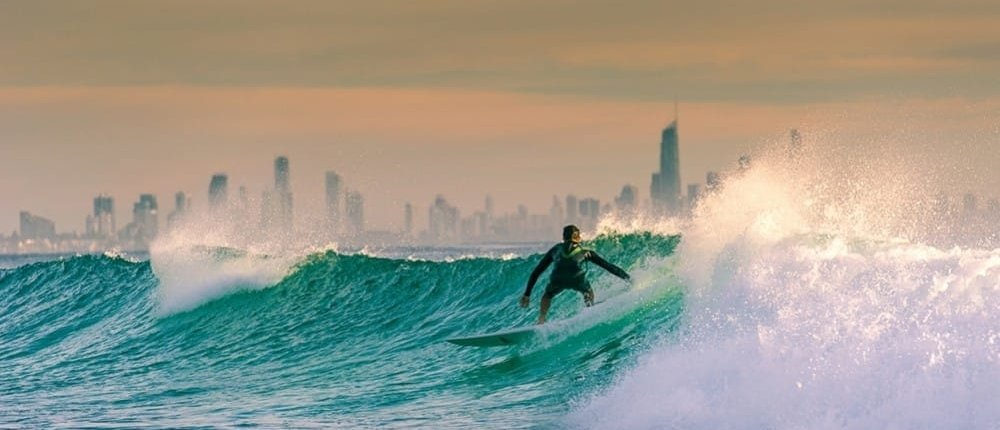 Surfer riding waves in Australia